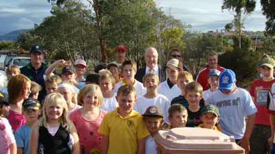 Some of the municipality's young Active Brighton! Program  participants with Labor MLC for Derwent, Michael Aird.