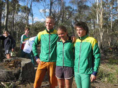 The Tasmanian  representatives in the team from left, Brighton's Callum Fagg, Sarah Bukkerfield and Oscar Phillips.