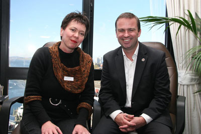 Premier David Bartlett with Bridgewater Library and Online Access Centre volunteer Val Cooke at the morning tea.