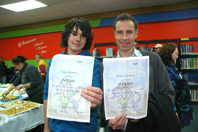 Bridgewater High grade 9 student David Foale and Greens leader Nick McKim MP display their Co-Pilots participation certificates.