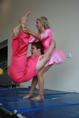 Circus performers, Hamish and Amelia show what circus performing is all about.
