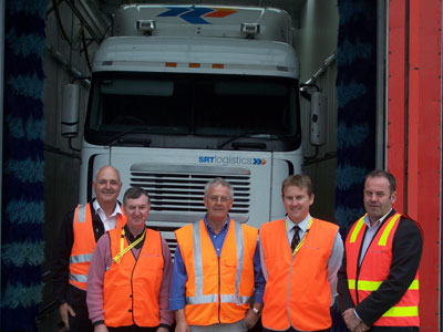 From left, Robert Hazell of Hazell Bros, Brighton Mayor Tony Foster, Jim Miller of SRT Logistics, Brighton municipal engineer Heath MacPherson and David Beattie from STEPS Tasmania.