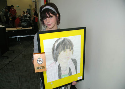 Bridgewater High student Minnie Pullen with her prize-winning art work.