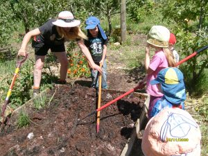 The children work with Chelsea to prepare for planting.