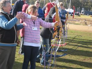 Shanae Splann, 10, from the Brighton Sunflowers Girl Guide Unit tries her hand at archery.