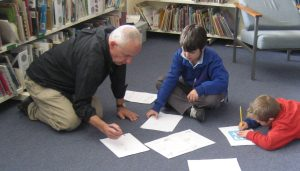 Illustrator Steve Isham helped Gagebrook Primary students create their own illustrations during Book Week