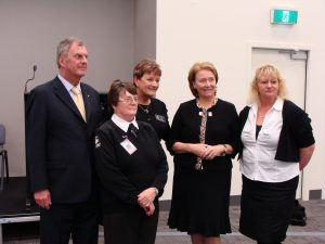 From left, the Governor of Tasmania  Peter Underwood with Rosie Engler, Janet Fedczyszyn, Mrs Frances Underwood and Kym Lynch.