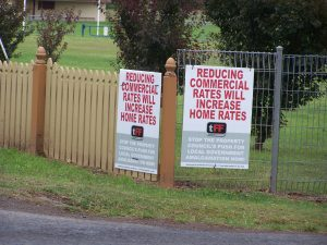 Signs in Brighton municipality that counter the push by 'the big end of town'.
